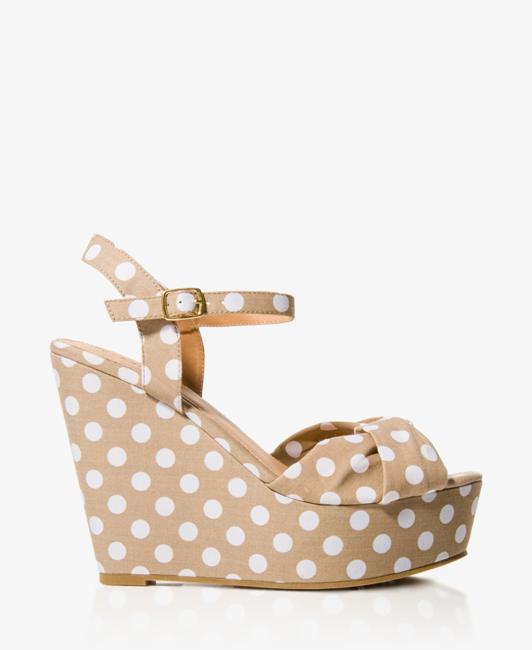 forever 21 polka dot wedge sandals in beige white