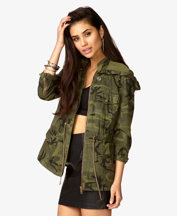 cca528ea631af Forever 21 Hooded Spiked Camo Jacket in Green - Lyst