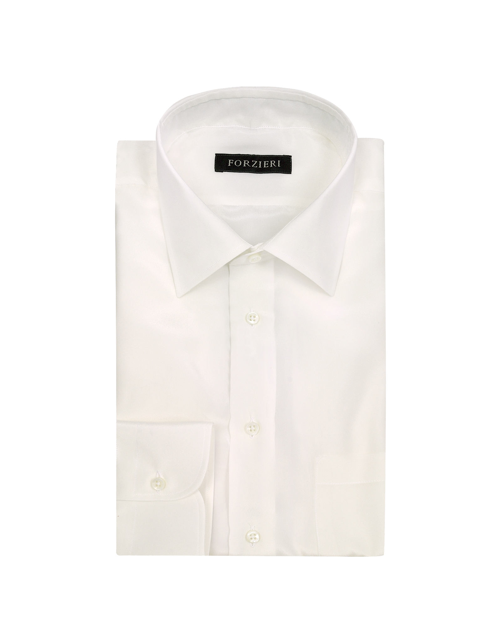 Forzieri Ivory Pure Silk Dress Shirt In White For Men