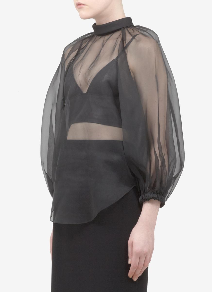 Black Silk Blouse Long Sleeve
