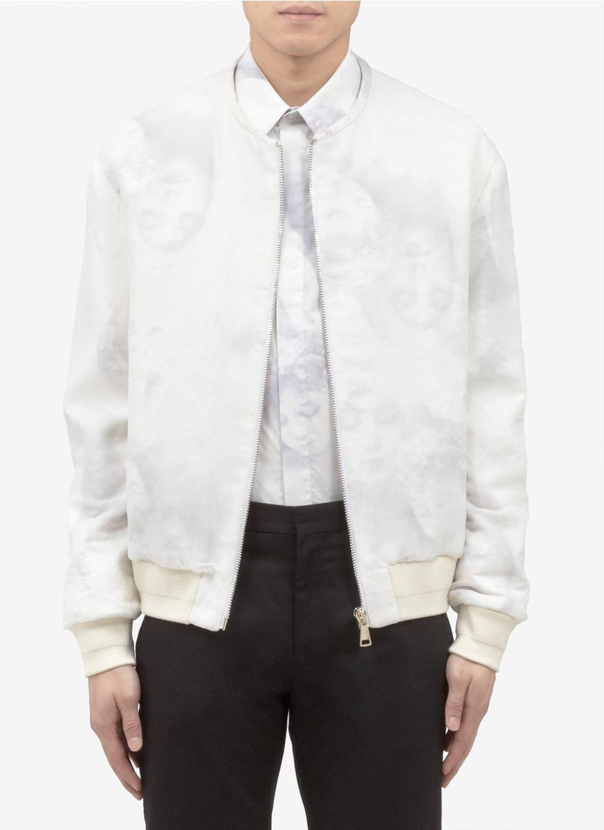 White Silk Bomber Jacket