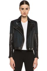 Helmut Lang Peak Jacquard Crop Biker Jacket in Black - Lyst