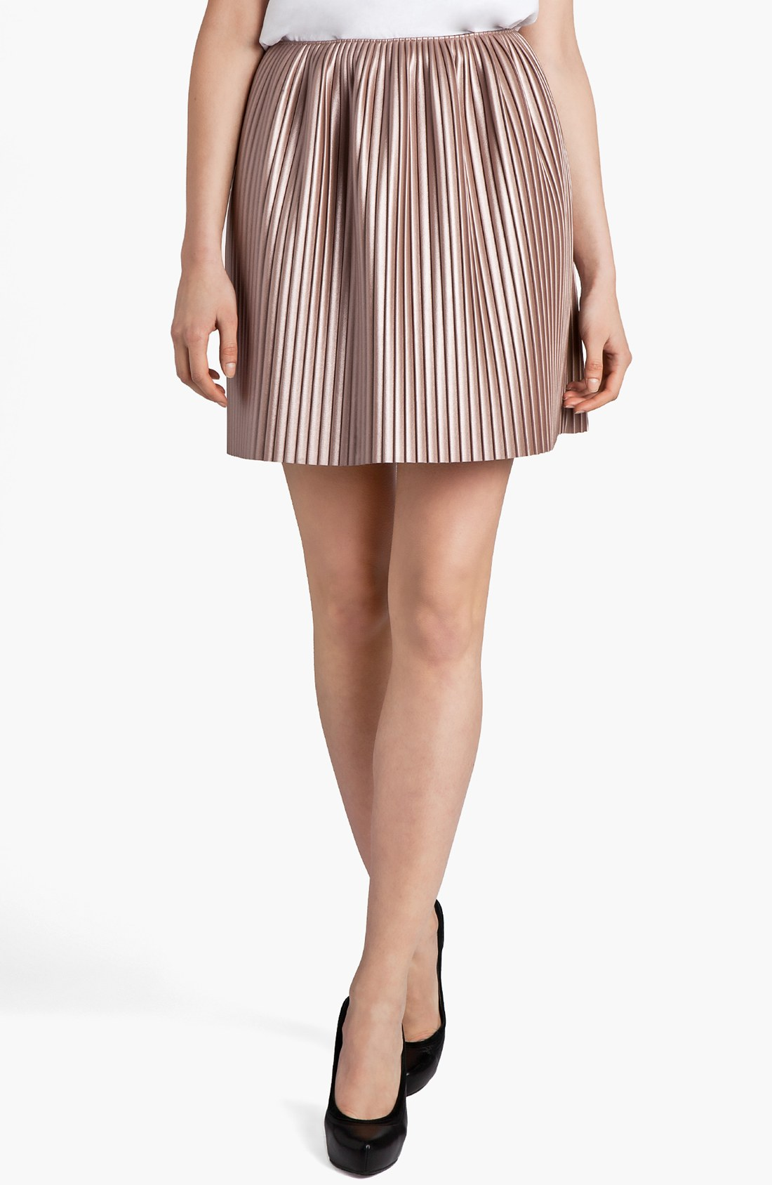 msgm pleated faux leather skirt in pink lyst