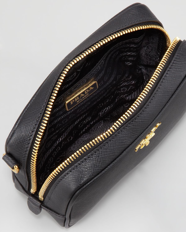 ad437655e893 Lyst - Prada Saffiano Mini Zip Crossbody Bag in Black