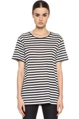 T By Alexander Wang Linen Stripe Tee in Blackwhitestripes - Lyst