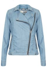 Topshop Moto Blue Denim Biker Jacket