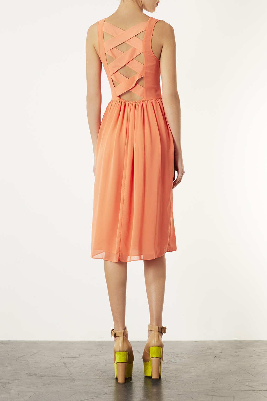 Lyst Topshop Coral Plait Back Midi Dress In Pink