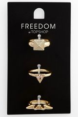 Topshop Spike Stud Rings Set Of Three - Lyst