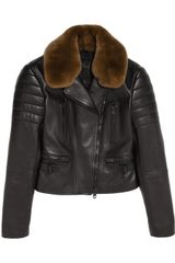 Burberry Prorsum Rabbit trimmed Leather Biker Jacket - Lyst