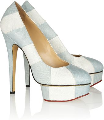 Charlotte Olympia Priscilla in Stripes Python Pumps - Lyst