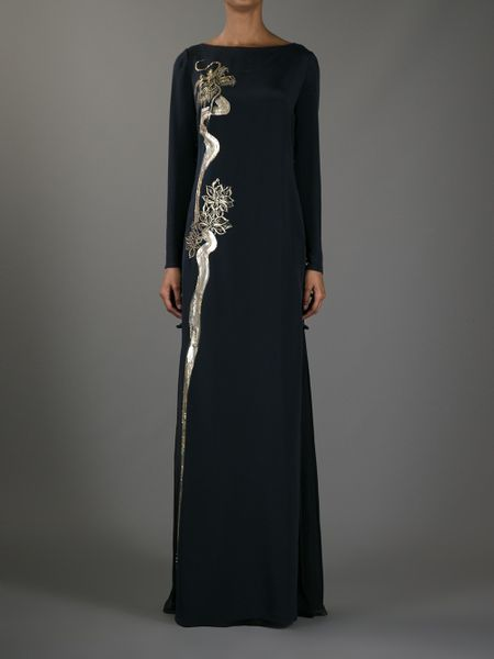 Emilio Pucci Dragon Silk Evening Dress in Black