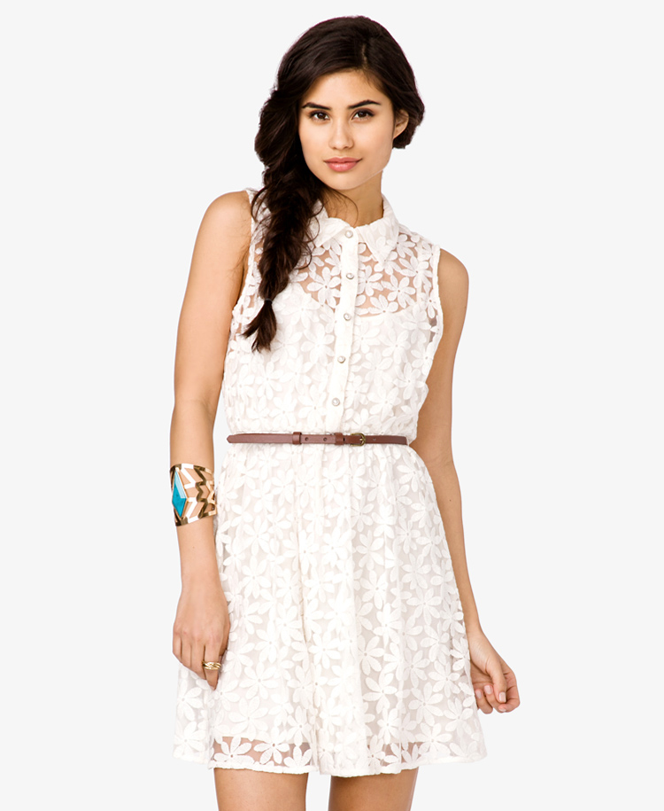forever 21 belted floral lace dress in white lyst