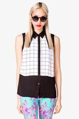 Forever 21 Sleeveless Windowpane Shirt - Lyst