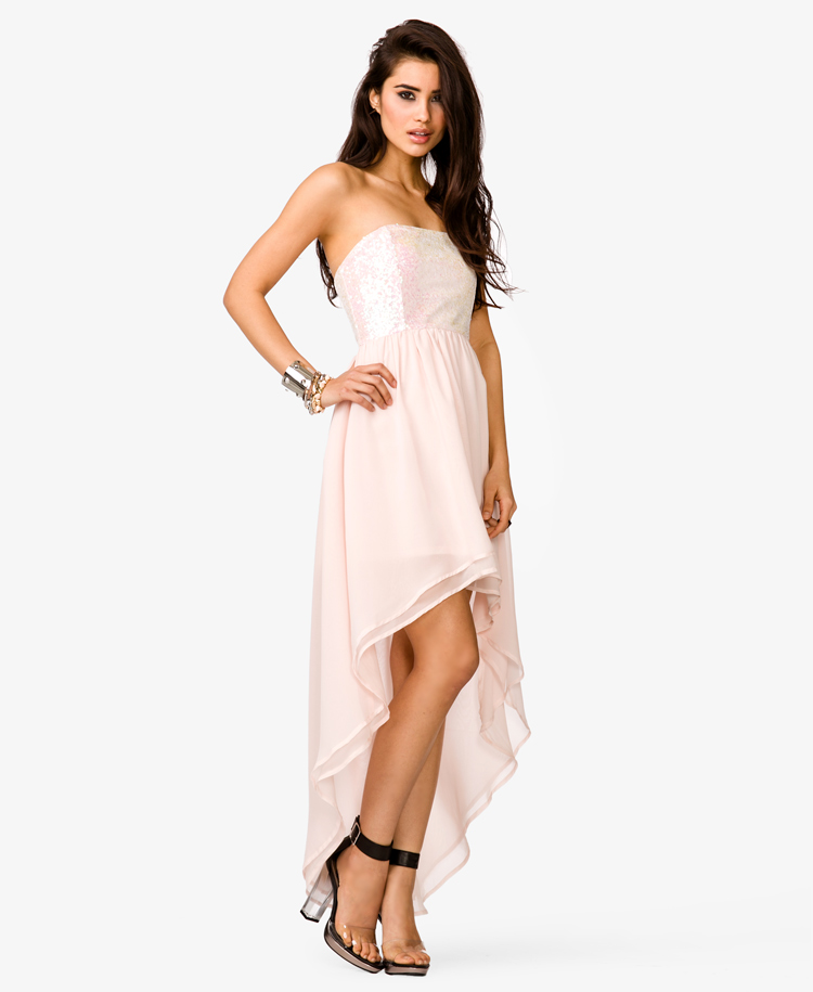 52c1d5f3ee9 Forever 21 Sequined High Low Dress in Pink - Lyst