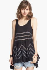 Free People Lace Trim Trapeze Tunic Dress - Lyst