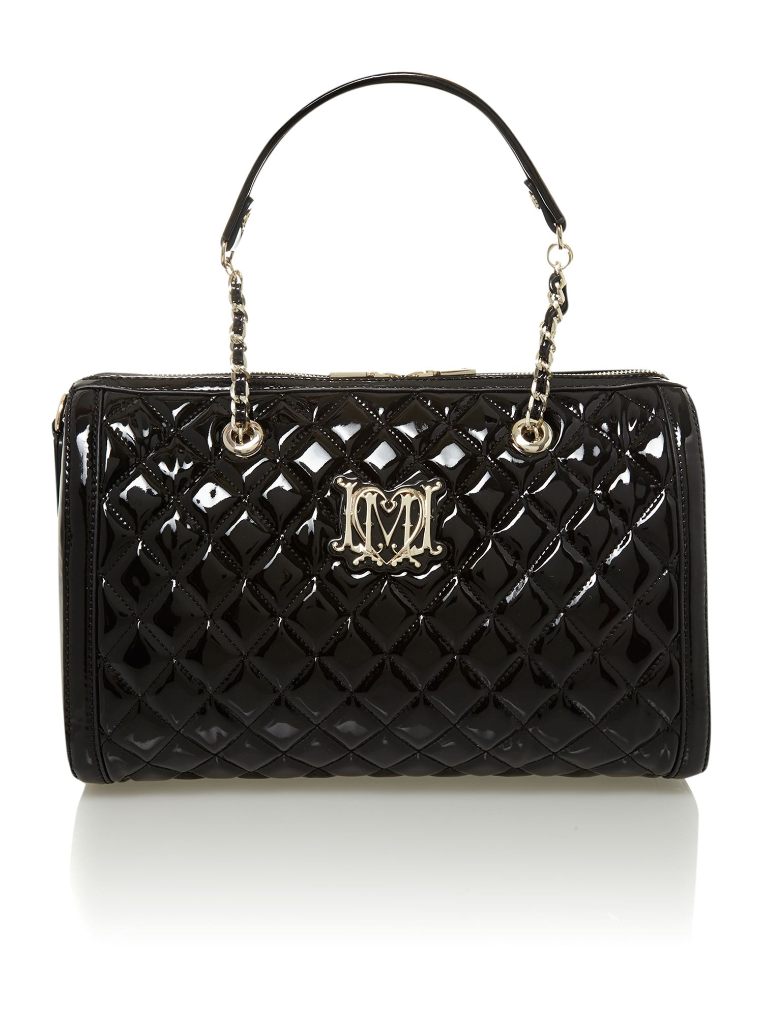 love moschino patent quilted bowling bag in black lyst. Black Bedroom Furniture Sets. Home Design Ideas