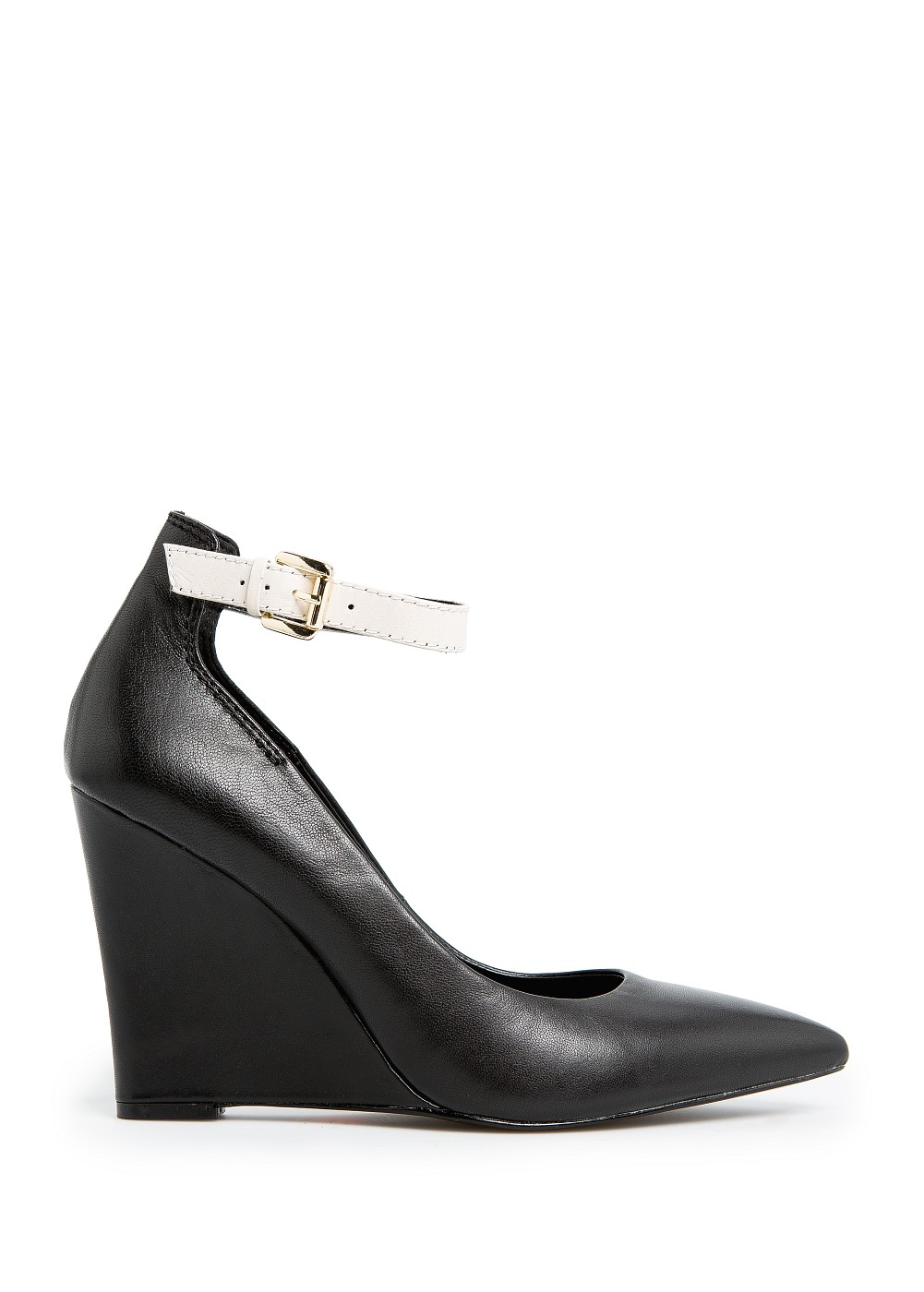Mango Touch Ankle Strap Leather Wedge Shoes in Black | Lyst