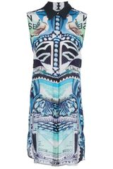 Mary Katrantzou Georgette Sleeveless Shirt Dress - Lyst