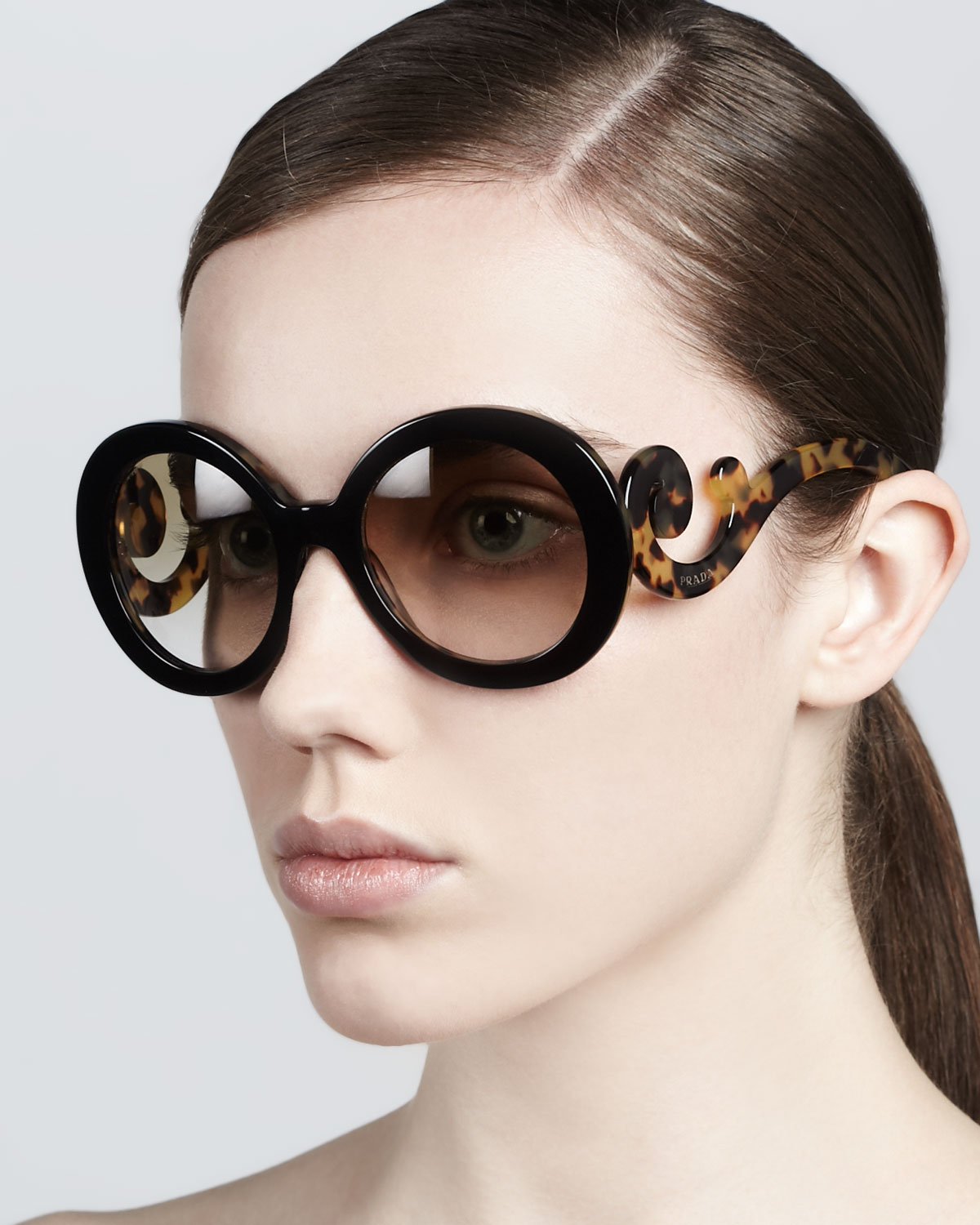 Prada Round Baroque Sunglasses  prada baroque round sunglasses in brown lyst