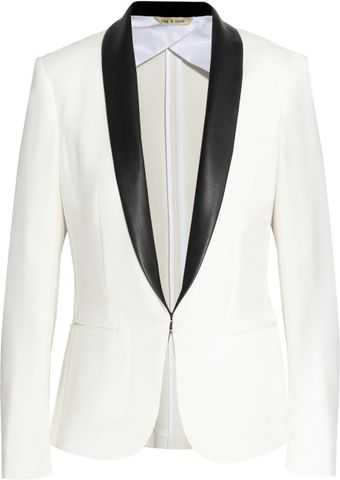 Rag & Bone Silver Leather trimmed Crepe Tuxedo Jacket - Lyst