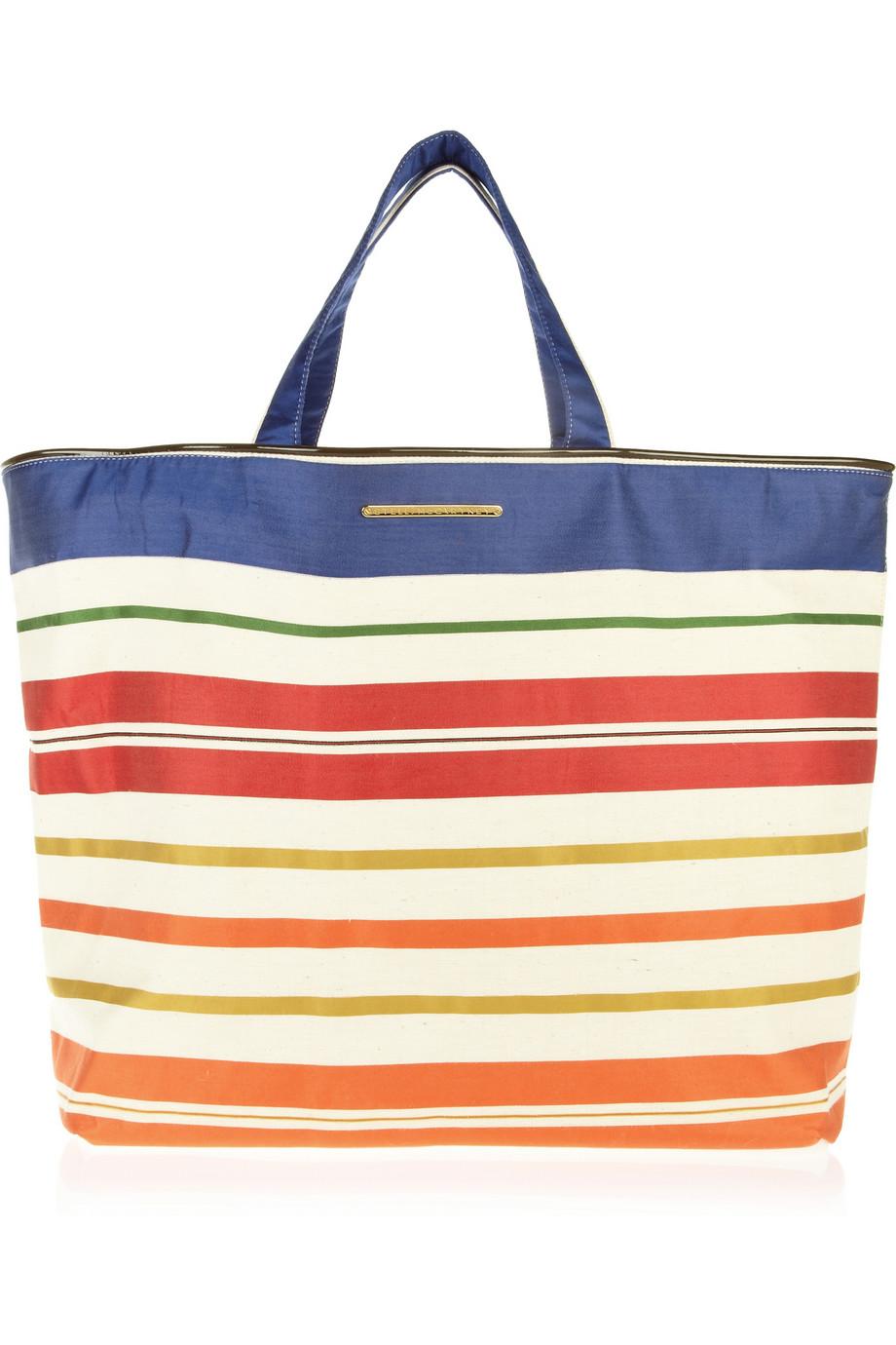 Stella Mccartney Vanessa Striped Cotton Beach Bag in Blue - Lyst f75dde26550f2
