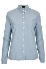 Topshop Moto Blue Oxford Denim Shirt - Lyst