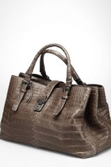 Bottega Veneta Shadow Soft Crocodile Fume Roma Bag - Lyst