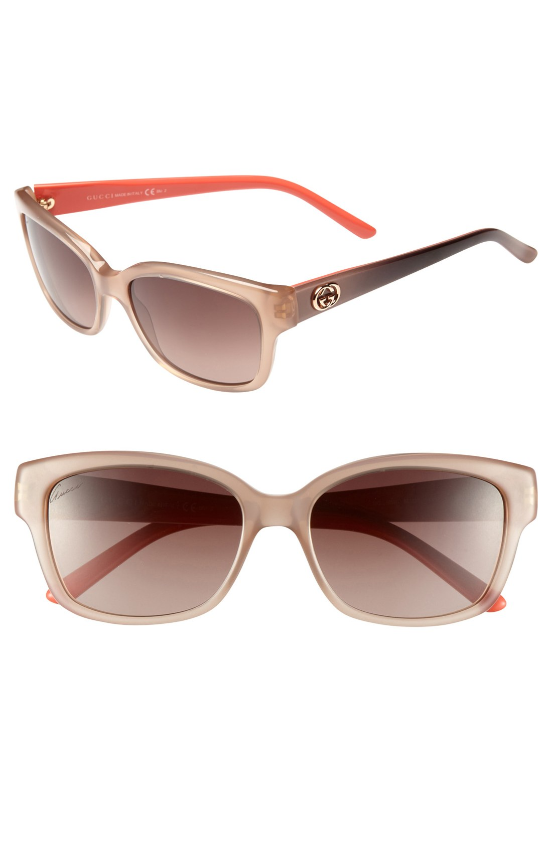 Gucci 54mm Sunglasses in Brown (brown/ pink) | Lyst