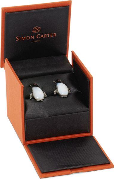 Simon Carter Darwin Penguin Cufflinks In Silver For Men