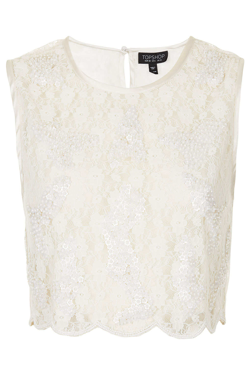 Topshop Daisy Sequin Lace Crop Top In White Lyst