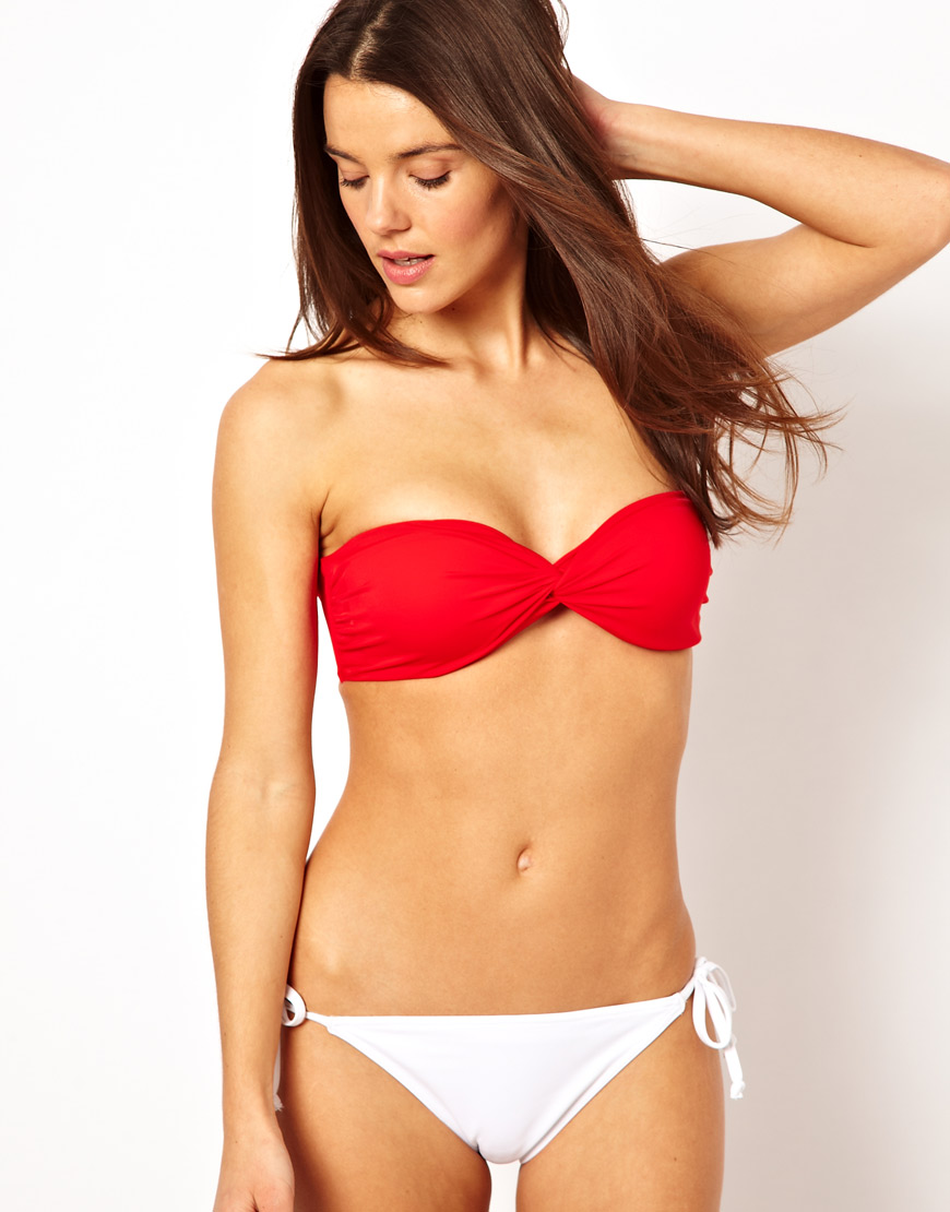 e915216338810 Lyst - ASOS Mix and Match Twist Bandeau Bikini Top with Tie Back in Red