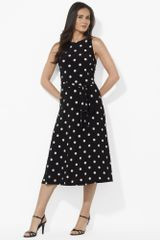 Lauren by Ralph Lauren Polkadot Crewneck Dress - Lyst