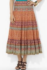 Lauren by Ralph Lauren Tiered Midi Skirt - Lyst