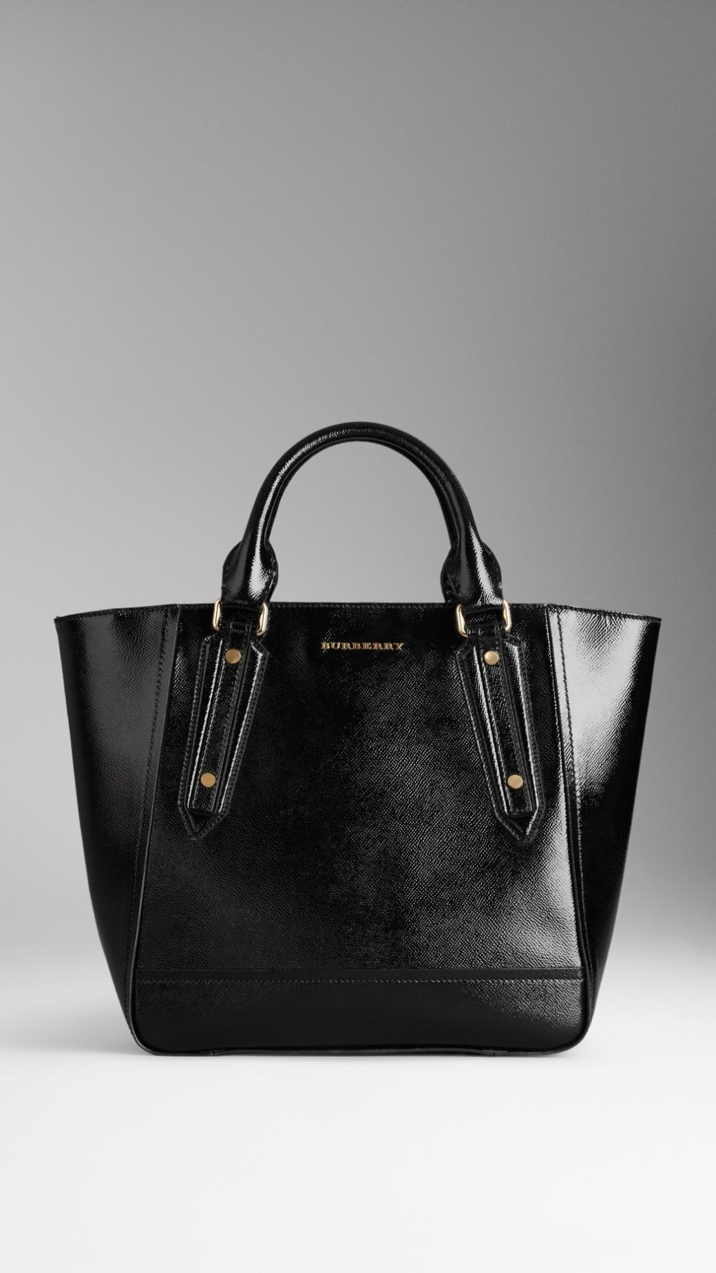 d3584cb1593 Lyst - Burberry Medium Patent London Leather Tote Bag in Black