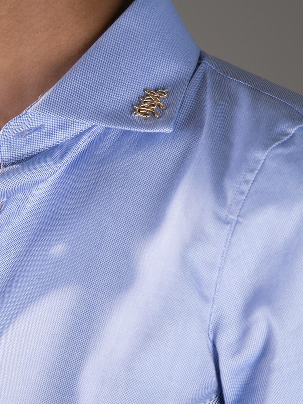Lyst Dsquared Logo Collar Pin Shirt In Blue