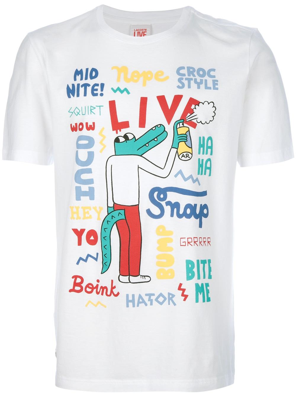 aa9b221d Lacoste L!ive Crocodile Graffiti Print Tshirt in White for Men - Lyst