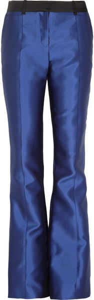 Prabal Gurung Highrise Silk and Cottonblend Sateen Flared Pants - Lyst