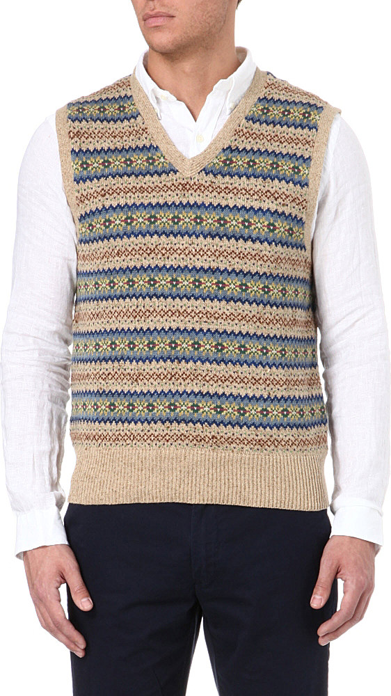 6c27e0d100dd4 Ralph Lauren Fair Isle Tank Top in Natural for Men - Lyst