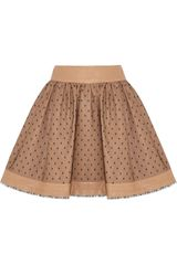 RED Valentino Leather and Tulle Mini Skirt - Lyst