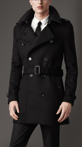 Burberry Midlength Wool Cashmere Trench Coat - Lyst
