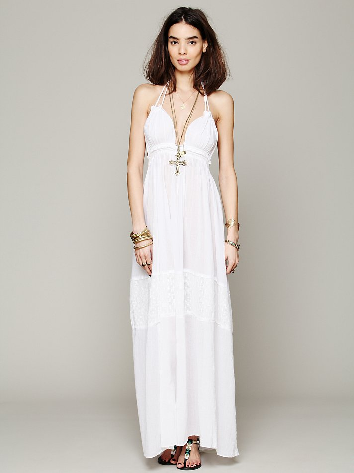 Free People Endless Summer Womens Solid Triangle Top Maxi