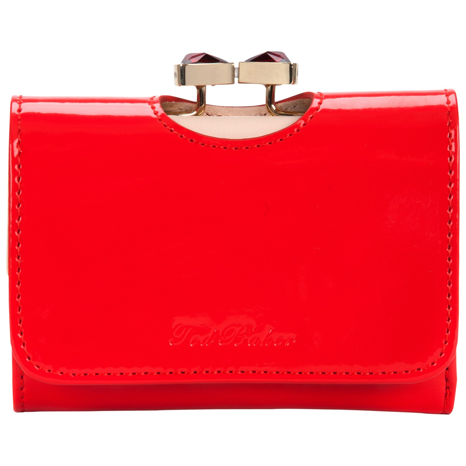 ce6a89ac1 Ted Baker Tyro Crystal Bow Bobble Patent Small Purse in Red - Lyst
