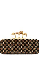 Alexander McQueen Embroidered Velvet Knuckle Box Clutch - Lyst