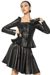 Alexander McQueen Pleated Nappa Leather Jacket - Lyst