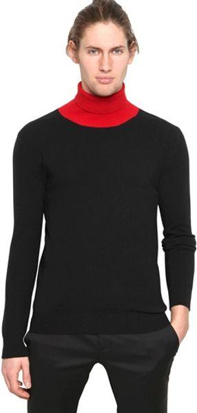 Alexander Mcqueen Wool Cashmere Knit Turtleneck Sweater In