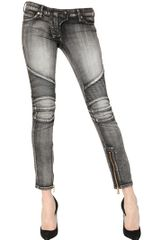 Balmain Quilted Stretch Denim Biker Jeans - Lyst