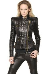 Balmain Quilted Techno Satin Perfecto Jacket - Lyst