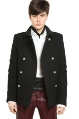 Balmain Wool Cloth Pea Coat - Lyst