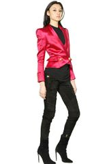 Balmain Silk Wool Satin Jacket - Lyst