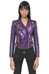 Balmain Quilted Nappa Leather Biker Jacket - Lyst